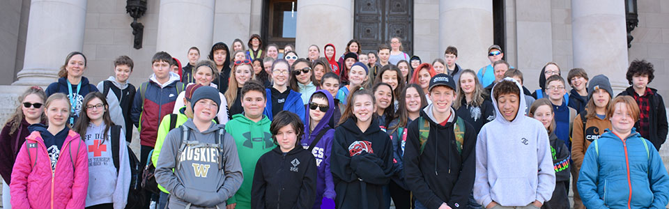 Stevens Middle School students visit the State Capitol to meet legislators